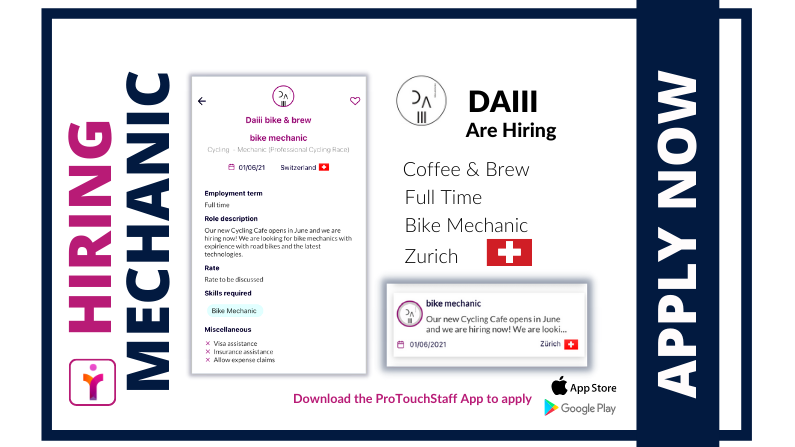 Now Hiring – Cycling Mechanic – DAIII.CC – Zurich, Switzerland – Start Date 1 June 2021